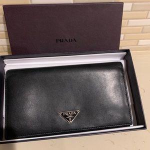 Prada Black Calf Skin Wallet